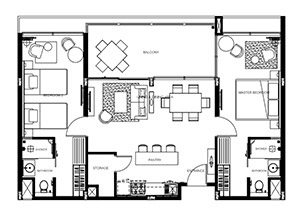 Floorplan : 2 bedroom Suite